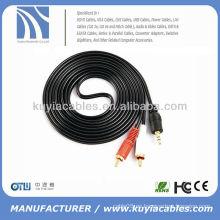 3M 3.5mm a 2 RCA Audio estéreo auxiliar Cable adaptador para iPod iPhone 4 Cable de altavoz 4s