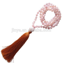 Hand Knotted Pink Crystal Stone Mala Beaded Yoga Tassel Necklace