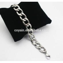 Bracelete de prata da pulseira da corrente das mulheres do aço do metal