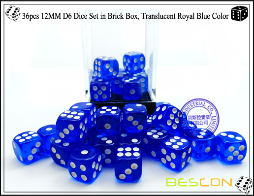 36pcs 12MM D6 Dice Set in Brick Box, Translucent Royal Blue Color-4