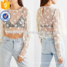 Cropped Cotton White Lace Long Sleeve Summer Top For Sexy Girl Manufacture Wholesale Fashion Women Apparel (TA0069T)