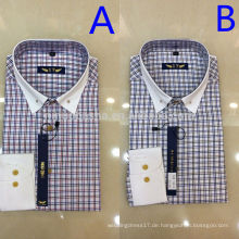 2014 Zwei Farben Single Breasted Plaids & Checks Herren T-Shirts mit weißen Cuff High Quality Turn-Down Männer Casual Shirts NB0580
