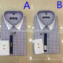 2014 Duas Cores Único Breasted Plaids & Checks Camisas Masculinas Com Punho Branco De Alta Qualidade Turn-Down Men's Casual Shirts NB0580