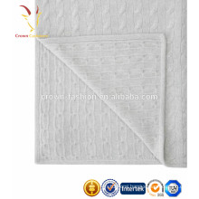 High Quality Knitted Cashmere Cable Baby Blanket Knit Infant Blanket