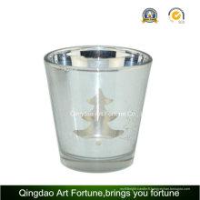 Support de bougie en verre de laser de galvanoplastie pour la décoration de Noël