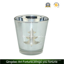 Electroplating Laser Glass Candle Holder for Christmas Decoration