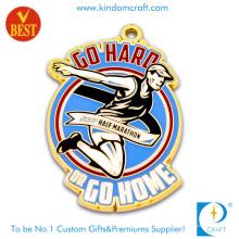 Medalha macia da meia maratona do esmalte macio feito sob encomenda de China da alta qualidade com chapeamento de ouro