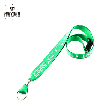 Silk Screen Printing Custom Logo Lanyard with Metal Ring, Green Silk Printed Lanyards