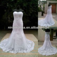 NW-431 Appliques Trumpet Real Sample Wedding Dress 2014