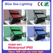 72pcs x 10w rgbw 4in1pro wash dmx ip65 outdoor building projection lighting