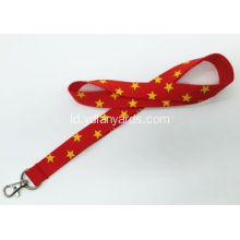 Red Silk Screen Lanyards Dengan Yellow Star