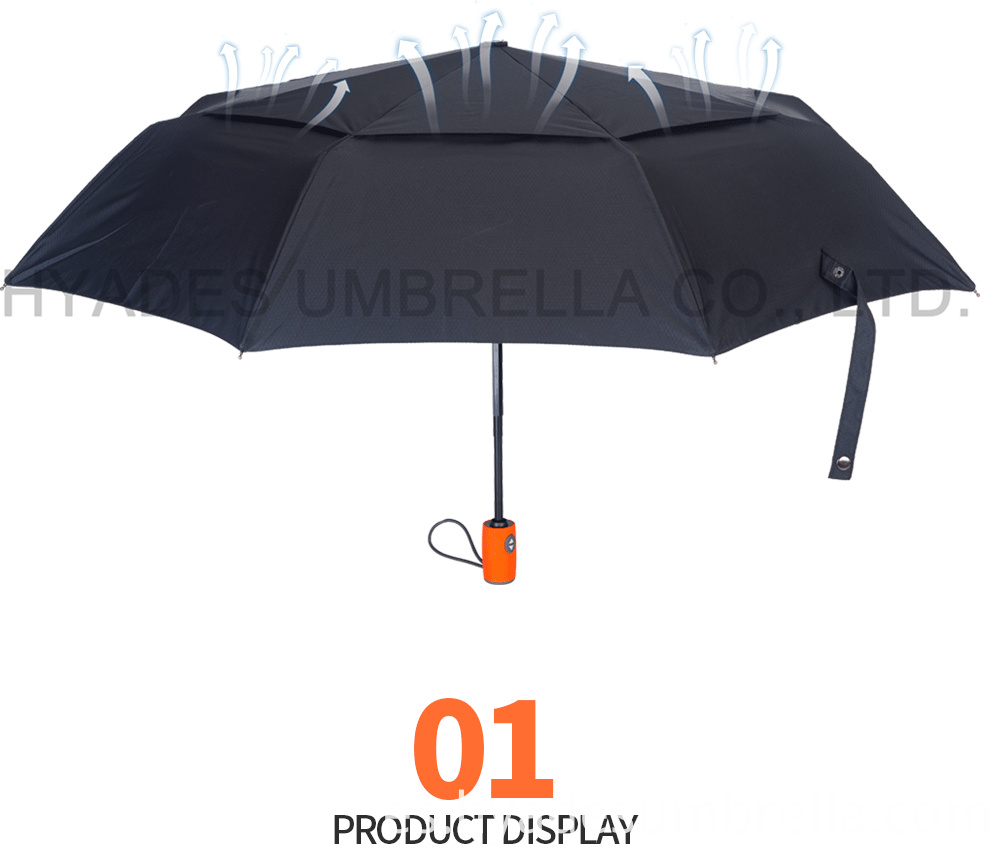 Auto Oepn And Close Folding Umbrella Double Layered Orange Handle 02