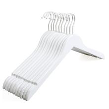 Good quality Wood Hanger white suit hanger With Non Slip Pant Bar