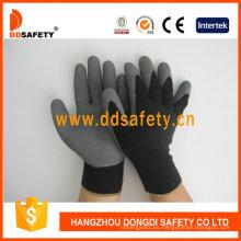 Algodón con poliéster Liner arruga guante de látex Dkl337