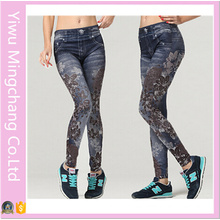 2016 Latest Design Plus Size European and American Fashion Coffee Flower Pattern Seamless Stretch Denim Leggings
