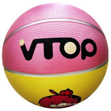 Pink Yellow Connection Strap Rubber Basketball Toys
