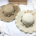 Wavy style summer paper straw hat