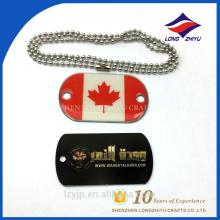 Bandeira de país personalizada prata banhado a prata epoxy print dog tag
