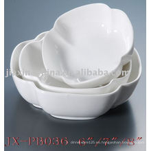 Servicio de mesa de porcelana blanca con forma de flor JX-PB036