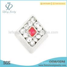 Silberne Kristallcharme, silberne Zinklegierung schwimmende Charmeschmucksachen