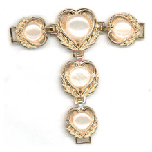 Vintage Sandal Chain with Heart-Shaped Metal Parts Linked and Pearl Trimming