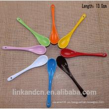 Haonai colorido cuchara de cerámica de largo, cuchara de café de cerámica