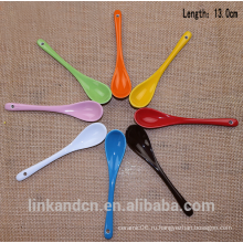 Haonai Красочная длинная керамическая ложка, керамическая кофейная ложка