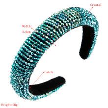 Fashion sponge hair hoop women net red all-match pure handmade string crystal wide edge headband