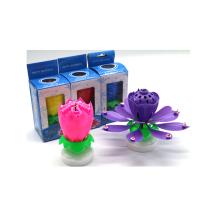 Boîte de couleur bougie de musique anniversaire fleur tournant