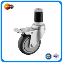 Roues de roulette à tige expansible avec frein à verrouillage total Roue PU