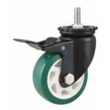 Mh1 Med -Duty Type Double Ball Bearing Stem Brake Type Green PU Wheel Caster (KMHX5-MH1)