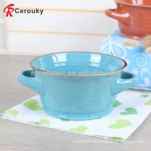 Custom schöne Design stapelbaren Keramik Steinzeug Suppe Schüssel mit zwei Griffe