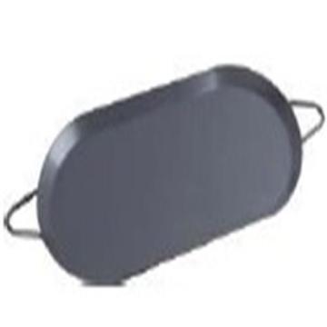 Karbon çelik Non-stick sığ oval kızartma tavada kulplu