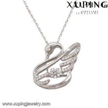 Colar-00075 moda elegante cz diamante ródio animal em forma de cisne imitação de jóias colar de pingente