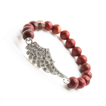 Red Jasper 8MM Round Beads Stretch Gemstone Bracelet with Diamante alloy Wing Piece