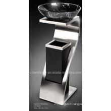 Boîte à ordures avec cendrier à l'intérieur en acier inoxydable