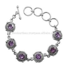 Amethyst Edelstein 925 Sterling Silber Armband