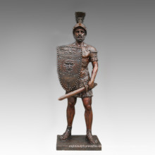 Große Figur Statue Schwert Krieger Bronze Skulptur Tpls-095