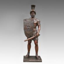 Grande Figure Statue Épée Guerrier Sculpture Bronze Tpls-095