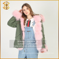 European Style Customized Genuine Fox Lange Dame Women Pelz Parka