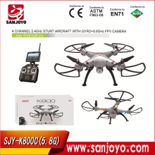 K800C (5.8G FPV) 2015 Newest arrival RC Drone 2.4G 4CH with 720p camera White/Grey FPV Real Time RC Quadcopter SJY- K800C