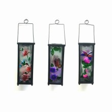 Metal Garden Hanging Solar Lighted Lantern W. Stained Glass Craft