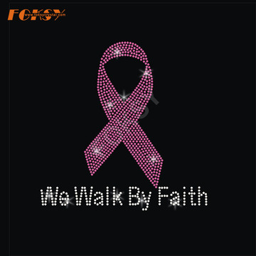 We Walk by Faith Pink Ribbon Heat Rhinestone
