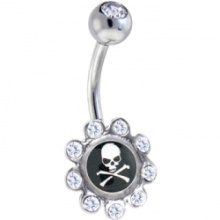 Crystalline Gem Skull and Crossbones Logo Flower Belly Ring