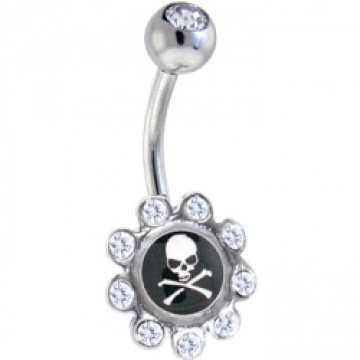 Crystalline Gem Skull and Crossbones Logo Flower Belly Ring