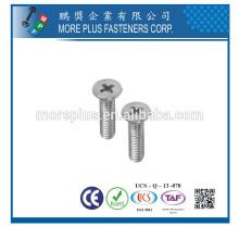Hecho en Taiwán Acero inoxidable 18-8 DIN965 M6X14 Phillips unidad de cabeza plana máquina tornillo