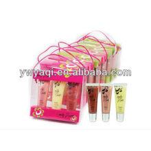 3 piezas de labios brillo conjunto en paquete de regalo de PP