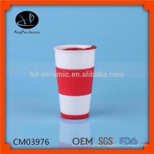 Taza cerámica personalizada del viaje, vaso de cerámica, tazas de café con la manga del silicón, taza de cerámica con la tapa y la venda de goma
