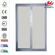 White Finish Mystique Glass Aluminum Interior Sliding Door