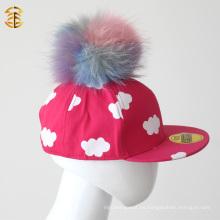 Fur Pompom en blanco nuevo Pompom Baseball Snapback Cap para niños